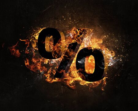 scald: Percent sign in fire flames on dark background