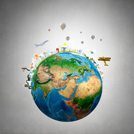 around the world: Whole world concept with Earth planet on concrete background. Elements of this image are furnished by NASA