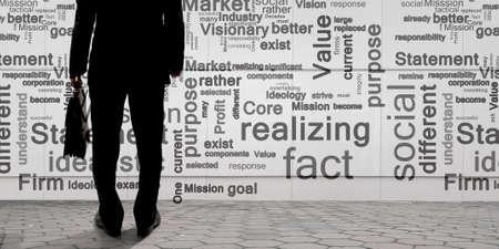 keywords background: Bottom view of businessman and business keywords on background