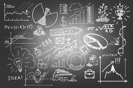 Image de fond avec des croquis d'affaires et des idées sur tableau noir Banque d'images