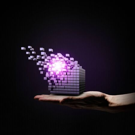 outside the box thinking: Businessman hand shows digital cube as thinking outside the box concept