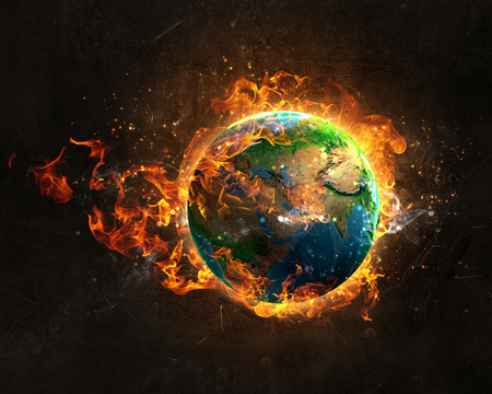 Burning Earth Planet on dark background.
