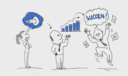 achieving: Caricature image of idea process and success achieving on white background Stock Photo