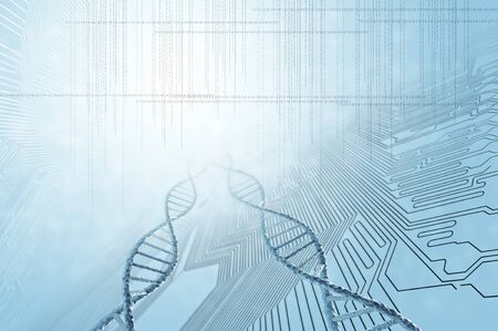 biotecnologia: High technology DNA molecule background as biochemistry science concept Foto de archivo