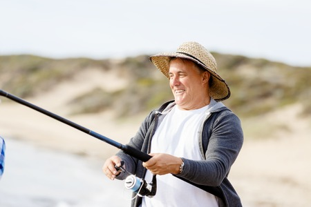 waders: Imagen de los pescadores que pescan con cañas