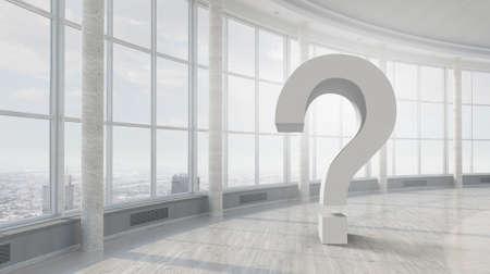 modern interior: Bright modern interior with big question mark sign Stock Photo