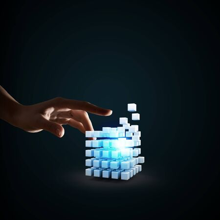 outside the box thinking: Businessman hand touch digital cube as thinking outside the box concept