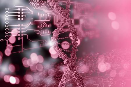 Fondo de alta tecnología molécula de ADN como concepto de la ciencia bioquímica Foto de archivo - 53713193