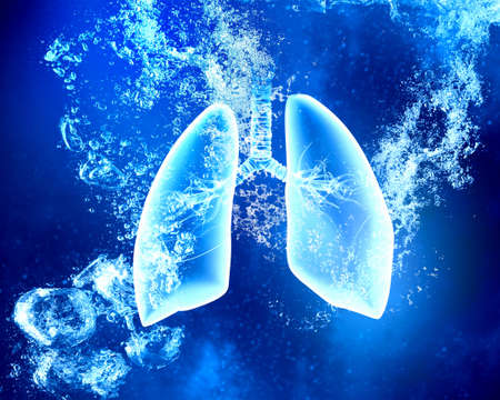 clear: Human lungs under clear blue crystal water