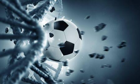 DNA 분자가 축구 공으로 깨진 생화학 개념