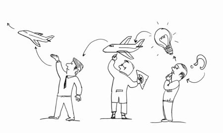 ingeniero caricatura: caricatura de la imagen brillante idea de realizaci�n en el fondo blanco Foto de archivo