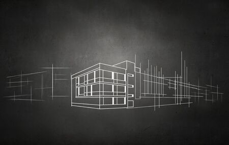 architect drawing: Drawing of construction architect project on black wall