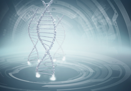 High technology DNA molecule background as biochemistry science concept Stock Photo
