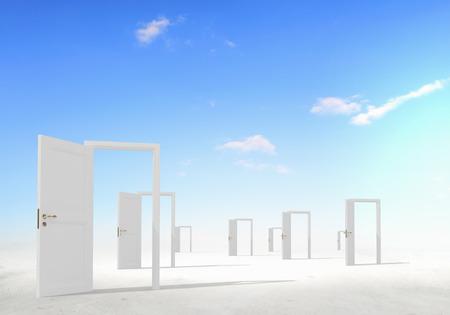 Many home white door open in cloudy sky Standard-Bild