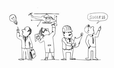 realization: Caricature image of bright idea realization on white background