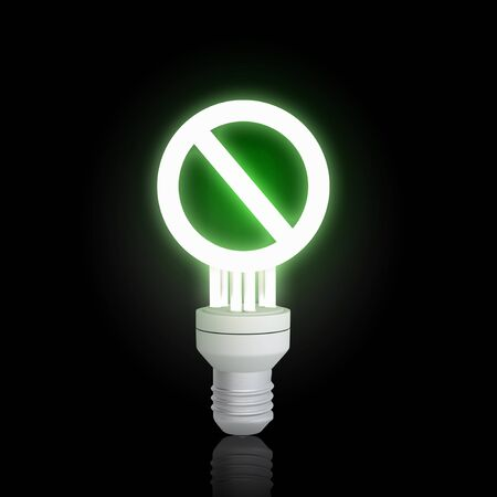 interdiction: Glowing light bulb with prohibition sign on black background Banque d'images