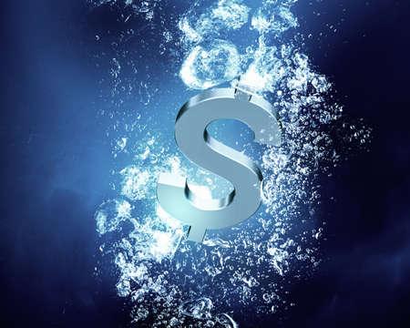 signos de pesos: Signo de dólar lavabo en el agua azul claro