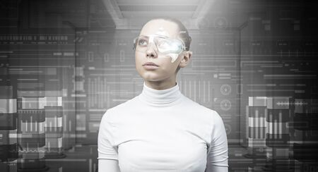 cyber woman: Cyber woman in glasses in virtual interface interior