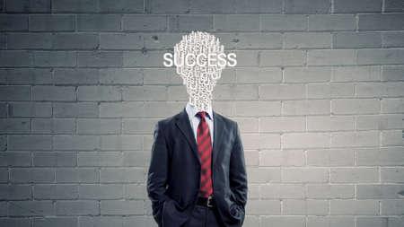 careerist: Businessman with light bulb instead of head as symbol of bright idea Stock Photo