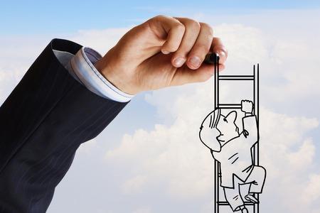 climbing ladder: Human hand drawing caricature of man climbing ladder