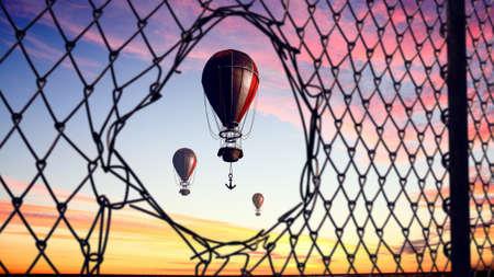 air hole: Air balloon in clear sky seen through hole in fence