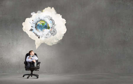 thought cloud: Pensive businessman sitting in chair and thought cloud above. Elements of this image are furnished by NASA