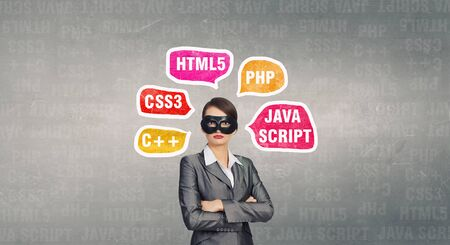 java script: Young businesswoman with black mask on face