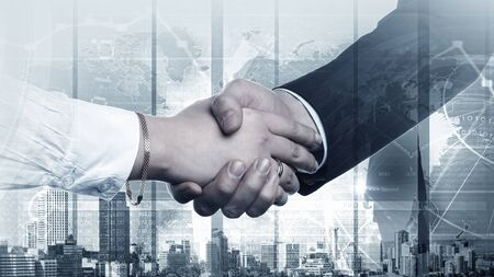 peace on earth: Business handshake on digital background as symbol of global interaction Stock Photo