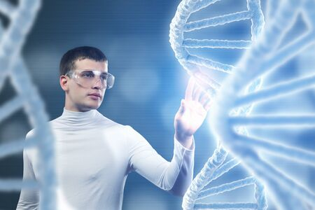 nucleotides: Man scientist looking at DNA molecule image at media screen