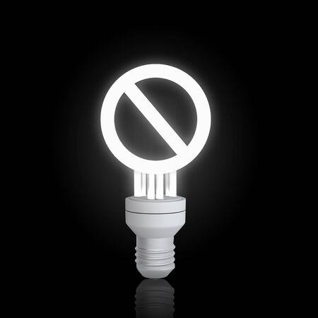 interdiction: Glowing ampoule avec un signe d'interdiction sur fond noir