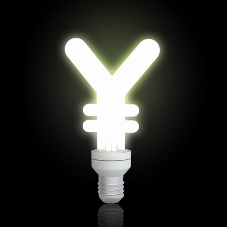 yen sign: Glowing light bulb with yen sign on black background