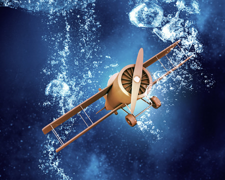 crystal clear: Airplane model in clear blue crystal water