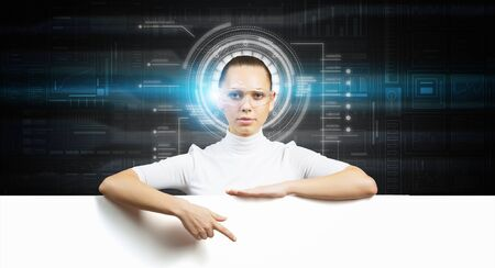 cyber woman: Cyber woman in glasses in virtual interface interior with white banner Stock Photo
