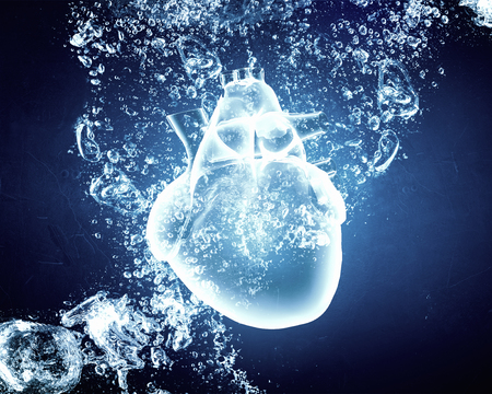 crystal clear: Human heart in clear blue crystal water