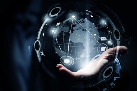 Close up of business person palm showing global connection concept Stock Photo