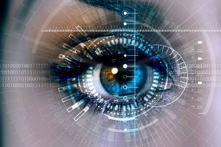 Female eye with security scanning digital concept
