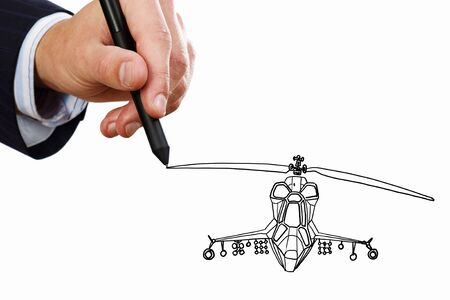 stylus: Hand drawing with stylus helicopter model on sky background Stock Photo