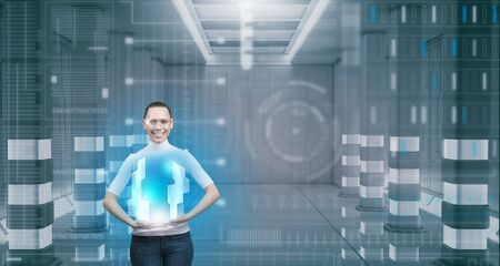 telecommunicate: Cyber woman in glasses in virtual interface interior