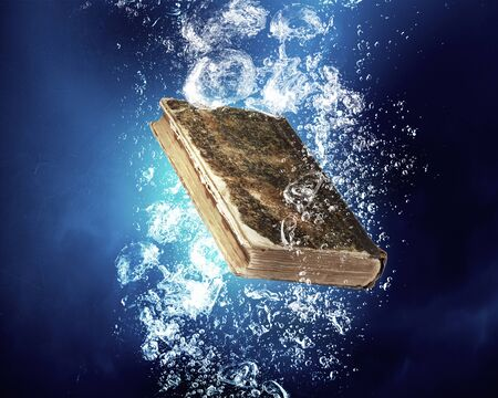 Old book sink in clear blue water