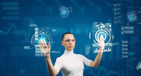 Cyber woman in glasses in virtual interface interior