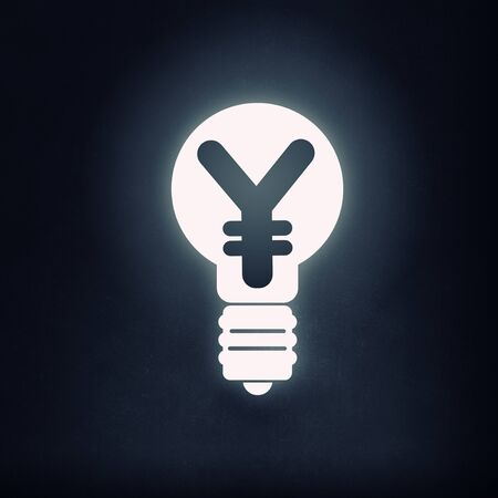 yen sign: Light bulb icon with yen sign on black background