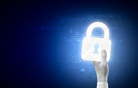 partnership security: Close up of human hand with digital lock icon Stock Photo