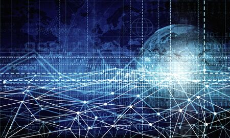 internet network: Digital technology background image with connection concept