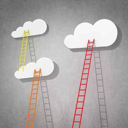 achieving: Success achieving concept of ladder reaching white cloud