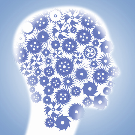 Human head with gears as symbol of thinking process Stock Photo