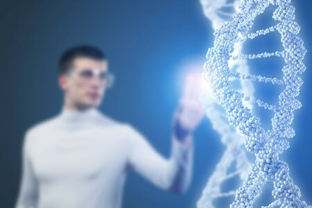 nucleotides: Man scientist touching DNA molecule image at media screen