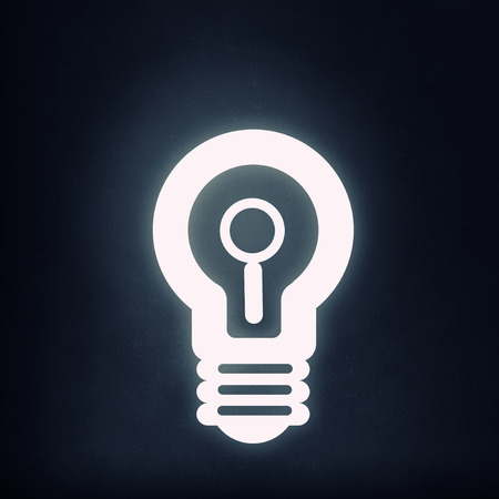 magnification icon: Light bulb icon with search sign on black background