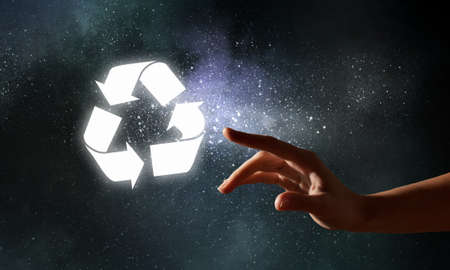 recycle sign: Close up of human hands touching with fingers and recycle symbol