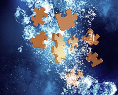 solved: Puzzle elements sink in clear blue water