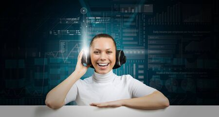virtual assistant: Young woman wearing headphones on virtual blue interface